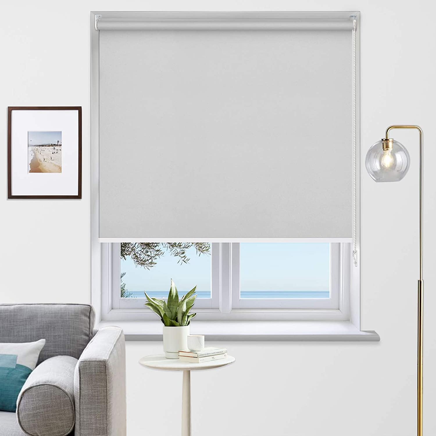MiLin Blackout Roller Shades Room Darkening Window Blinds and Shades, Custom Cut to Size, Waterproof Thermal Insulated for Home & Office - Light Gray 35