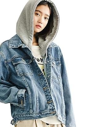 2e12fd3d4 JudyBridal Womens Jean Jacket Oversized Button Hooded Denim Jacket ...
