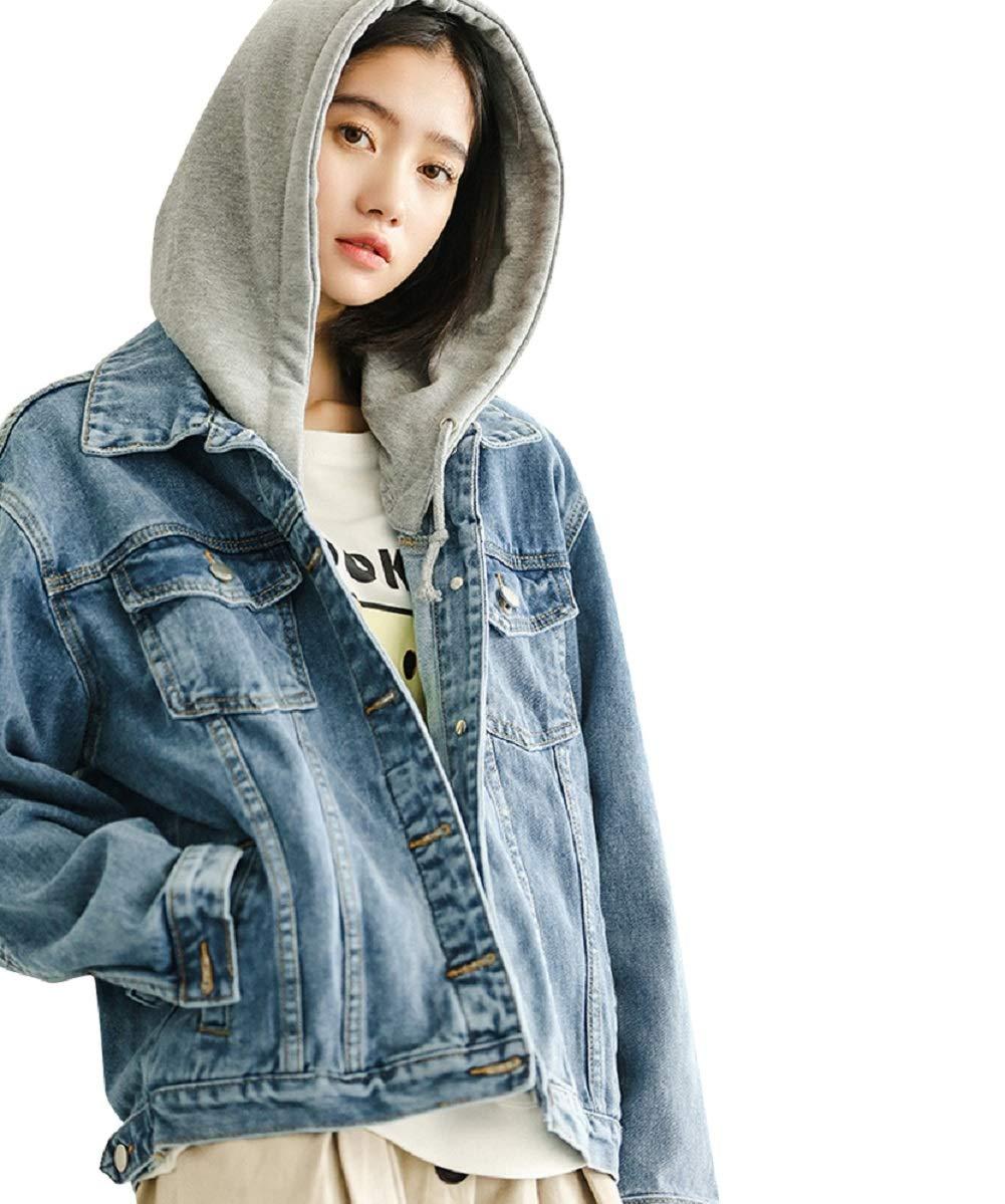 b19a342e4f4 JudyBridal Womens Jean Jacket Oversized Button Hooded Denim Jacket ...