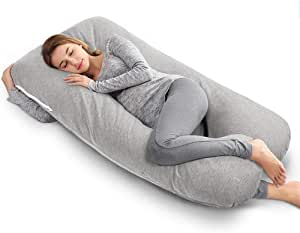 QUEEN ROSE U-Shaped Body Pillow, Pregnancy & Maternity Pillow with Removable and Washable Cover (140 * 78 cm, Cotton Grey)