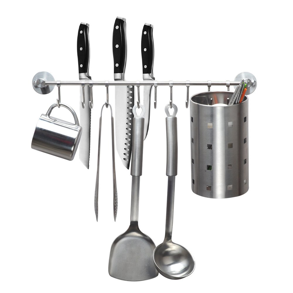 eForwish Stainless Steel Kitchen Tools Utensil Holder Hanging Rack Organize Pots Pans Kitchen Knife Gadgets On Wall Mounted Hanger Bar Rail Under Cabinet Shelf Coffee Mug Cup Organizer(10 Hook,20.5'')