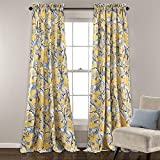 Nil 2pc 84 Girls Yellow Color Floral Curtain Panel Pair, Polyester, Blue Color Window Drapes, Kids Themed Animal Energy Efficient Room Darkening Rod Pocket Playful Luxurious