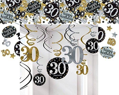 Feste Feiern Geburtstagsdeko Zum 30 Geburtstag I 13 Teile All In One Set Spiralen Deckenhanger Konfetti Gold Schwarz Silber Party Deko Happy
