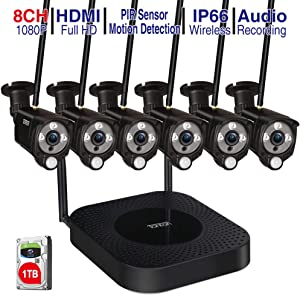 【Audio Recording】 Tonton 1080P Full HD Security Camera System Wireless,8CH H.265+ NVR Kit with 1TB HDD and 6PCS 2.0 MP Outdoor Indoor Bullet IP Cameras with PIR Sensor,Auto-Pair,Plug and Play(Black)
