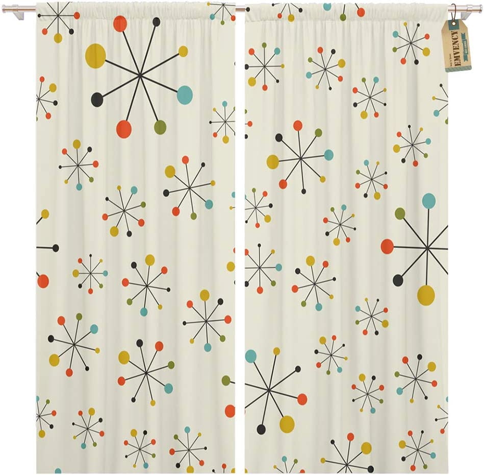 Golee Window Curtain Modern Mid Century Absctract Geometric Pattern Space Retro 1950s Home Decor Pocket Drapes 2 Panels Curtain 104 X 63 Inches Home Kitchen