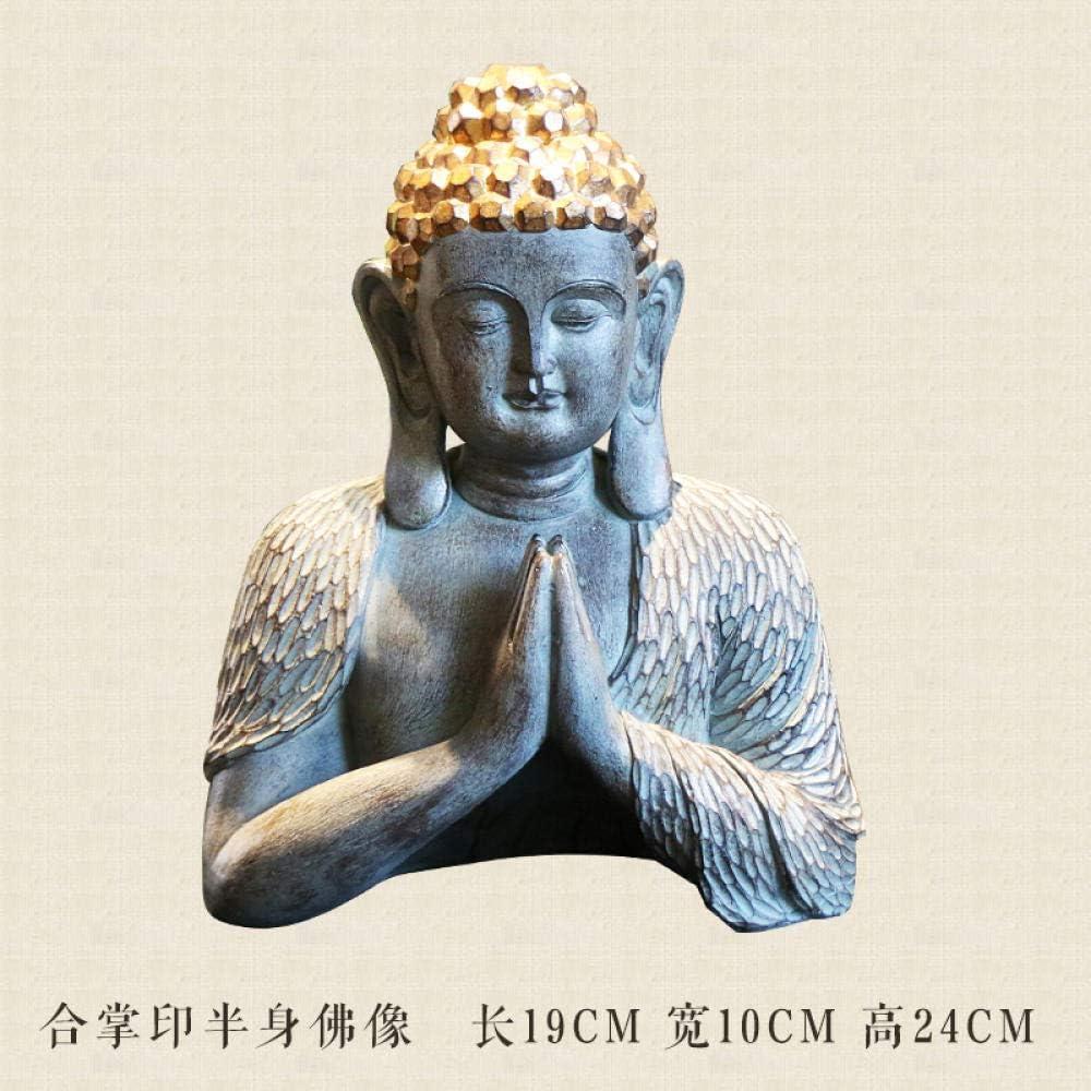 Buddha Kopf 25x13,8x12 cm Zement Figur Statue Budda Deko Meditation Feng Shui