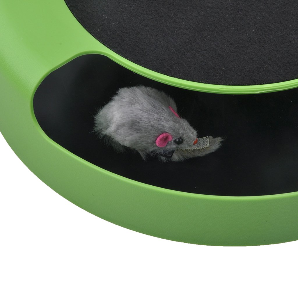 Gimilife 2 in 1 Interactive Cat Toys Pet Paly Toys With Scratch Pad Rotating Mouse (Green)