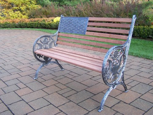 (Oakland Living Proud American Bench, Antique Pewter)