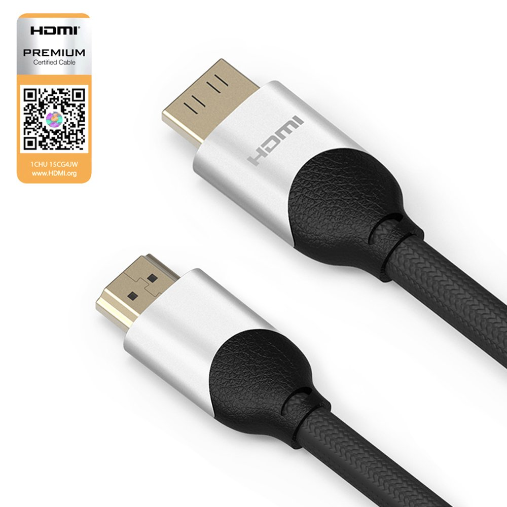 [Premium Zertifiziert] 4K HDMI Kabel 1.5 Meter / HDMI 2.0b, 21 Gbps, Ultra HD bei vollen 60Hz (keine Ruckler), HDR, 3D