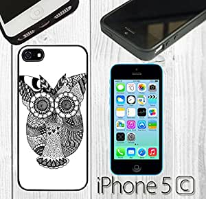 Zentangle Owl Art Custom made Case/Cover/skin FOR iPhone 5C -Black-Rubber Case