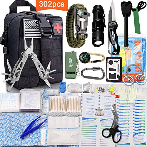 Monoki First Aid Survival Kit, 302Pcs Tactical Molle EMT IFAK Pouch Outdoor Gear EDC Emergency Survival Kits First Aid Kit Trauma Bag for Hiking Camping Hunting Car Travel or Adventures(Black) (Best Survival Medical Kit)