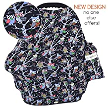 MyTravelUp – Multi-Use Baby Car Seat Cover - Protect Your Baby From Intense Sun, Wind, Germs And Staring Strangers - Includes Free Storage Bag – Use It As Nursing Cover, Shopping Cart Cover And Infinity Scarf (Dark Color)