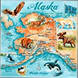 Alaska Picture Map Ceramic Trivet