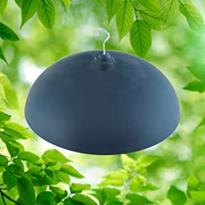 """North States Two-Way Squirrel Baffle: Protects Bird Feeders, Hang or Pole Mount (pole sold separately). Adjustable to Fit Poles .5"""" to 1.25"""". Large Resin Baffle (15.75 diameter, Gray)"""