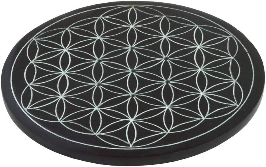 Saraswati Halter f/ür R/äucherst/äbchen R/äucherst/äbchenhalter Blume des Lebens Black Stone 10cm