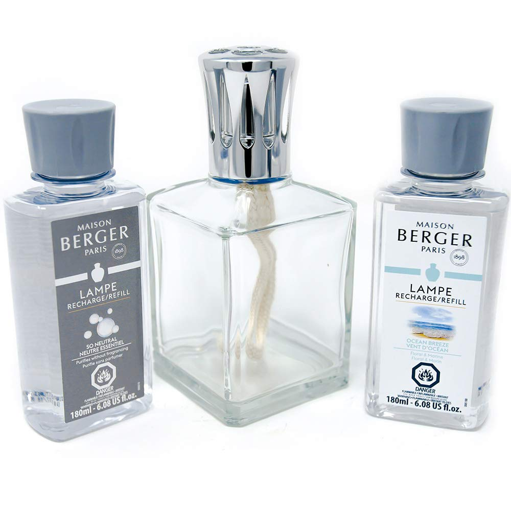 Lampe Berger Lamp Gift Set - Essential Square, Includes Fragrance Ocean Breeze and So Neutral 180ml / 6.08 fl.oz. by Lampe Berger