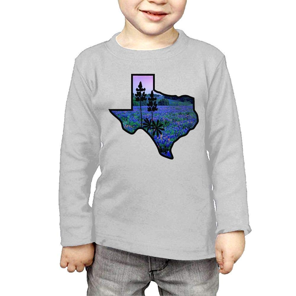 Baby Girls Childrens Texas State Bluebonnet I Love Printed Long Sleeve 100/% Cotton Infants T Shirts