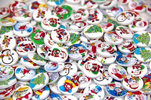 Pack of 100pcs shape 2 holes Christmas Stockings polywood 15mm buttons for Sewing Scrapbooking.