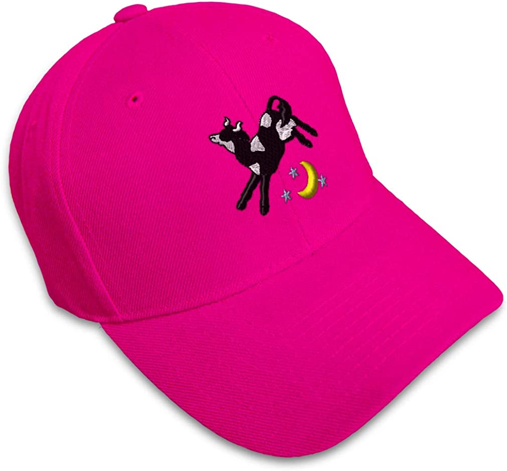 Custom Baseball Cap Cow Jumping Over The Moon Embroidery Acrylic Strap Closure