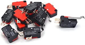 Antrader 12-Pack V-154-1C25 Micro Limit Switch Momentary SPDT Snap Action 3 Pin Long Straight Hinge Lever Type Arm