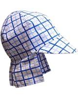 N'Ice Caps Baby Boys Blue Tattersall Plaid Seersucker Safari Sun Hat