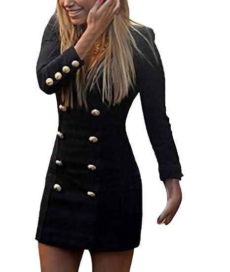 Mujeres Vestidos Cortos Slim Fit Blazers Vestido Bodycon Doble Botonadura Elegante Manga Largos V Cuello Vestir De Tubo Fiesta Casual Color Sólido ...