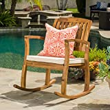 Sadie Outdoor Acacia Wood Rocking Chair with Cushion For Sale