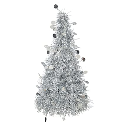 Tinsel Christmas Tree.10 25 Silver Tinsel Christmas Tree Decoration