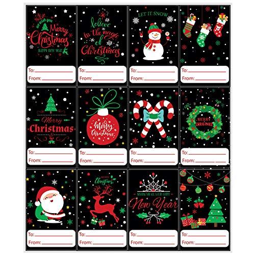 URATOT 240 Pieces Christmas Gift Tags Self Adhesive Stickers Christmas Gift Name Labels Gift Name Tags for Christmas