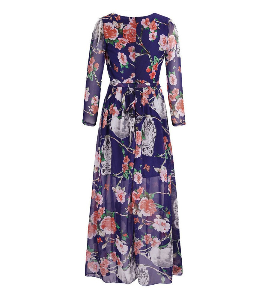 Moollyfox Mujer Vestido Largo Estampado Floral Manga Larga Gasa ...
