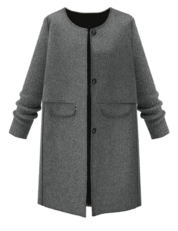 Binn Women's Gray Woolen Jacket Warm Outerwear Pea Overcoat