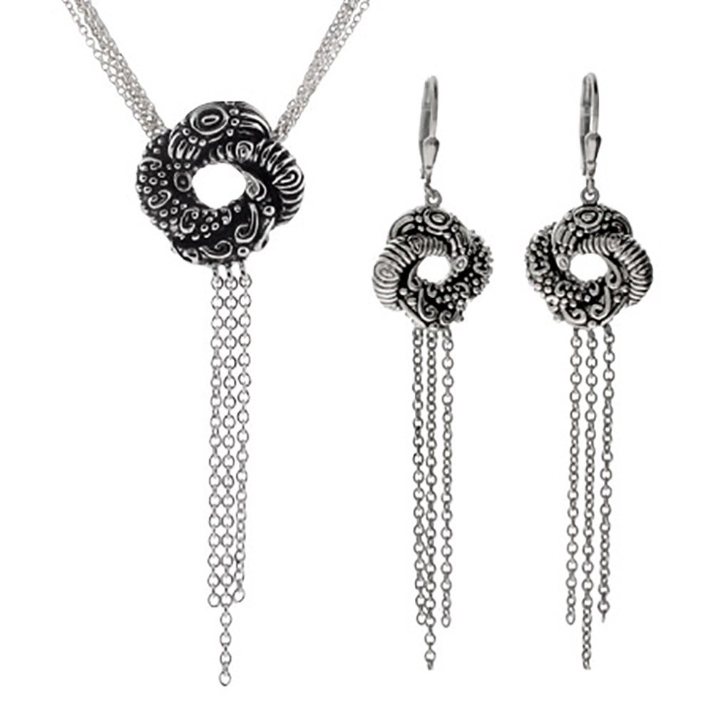 Sterling Silver Algerian Love Knot Necklace and Earring Set (16'' Chain)