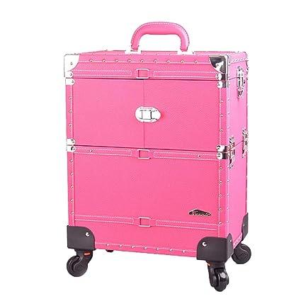 Beauty case Ali@ Estuche de cosméticos con Carrito portátil de Color Rojo Rosado, Novia