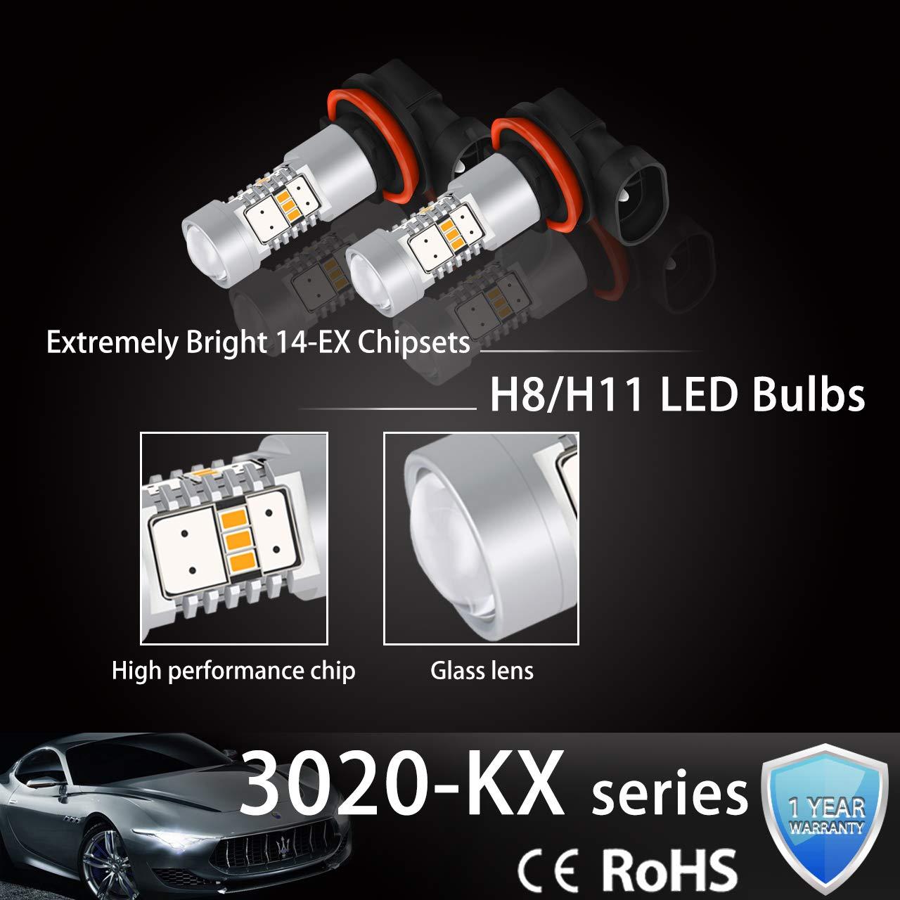 NGCAT 1800 Lumens 14 SMD 3020 CREE 9006 HB4 LED Bulbs for Fog Lights DRL Turn Signals Light Bulbs Back Up Reverse Lights,DC 10-16V Halogen Yellow 2-Pack