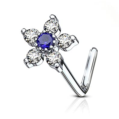 Triple Heart Rose Gold Ip Simulated Diamond L Shape Bent Nose Piercing Stud 20g Jewelry & Watches
