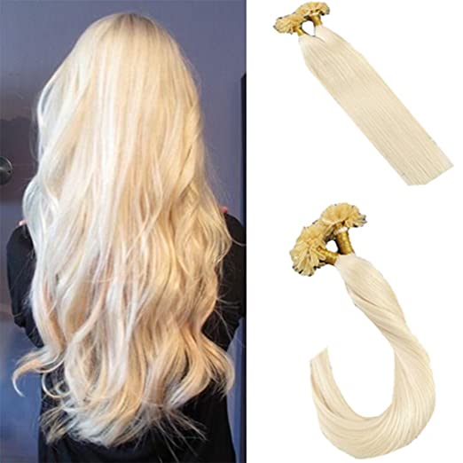 LaaVoo 16 inch Remy U Tip Hair Extensions with Keratin Bleach Blonde #60 Real Hair Fusion Extensions Human Hair 50g per Pack