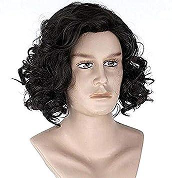 Amazon.com   Diy-Wig Natural Men s Short Black Curly Fluffy Wavy ... 6d344932a4c9