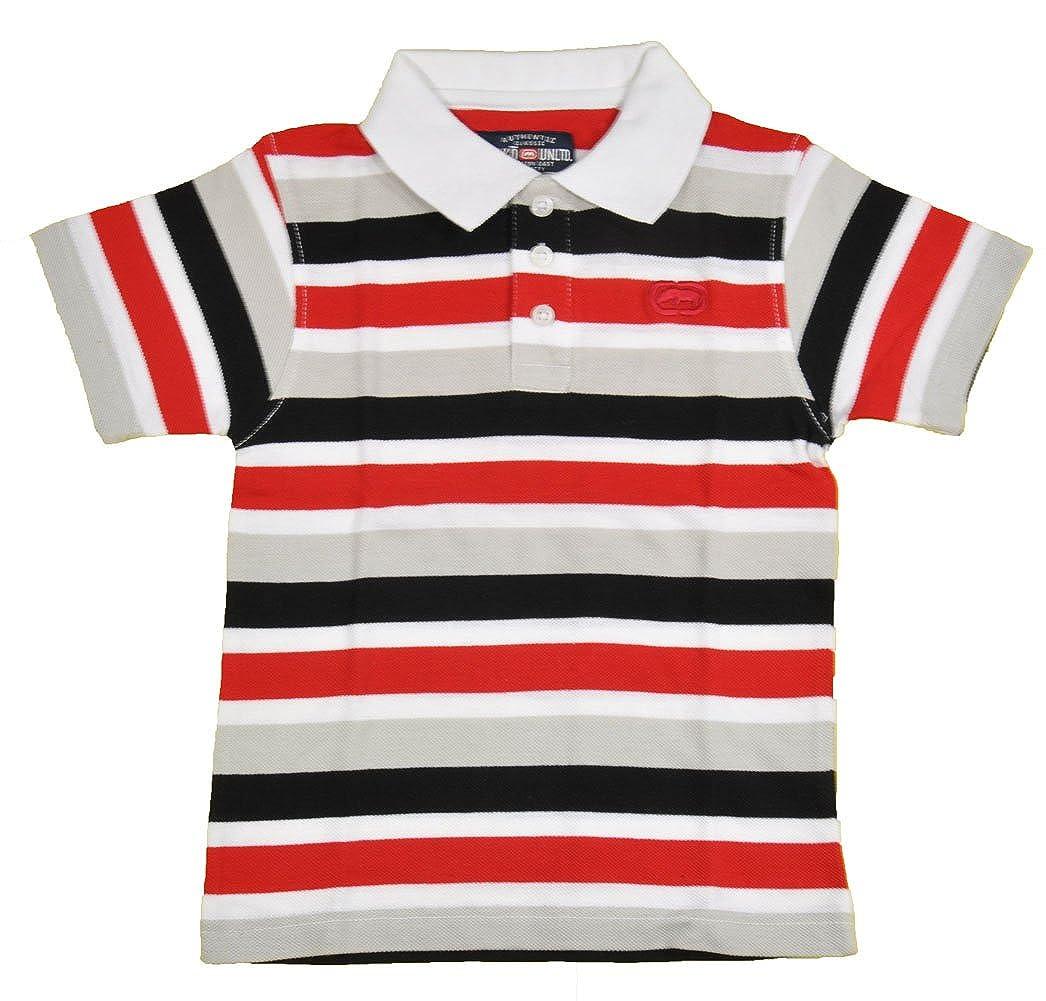 Ecko Unltd Toddler Boys S//S Striped White /& Multi Color Polo