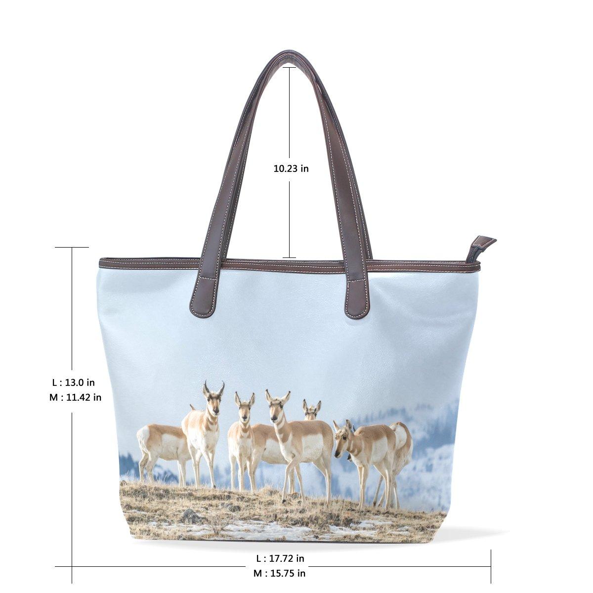 Ye Store Group Of Pronghorn Antelopes Lady PU Leather Handbag Tote Bag Shoulder Bag Shopping Bag