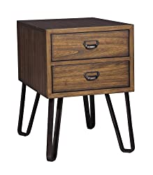 Ashley Furniture Signature Design - Centair Casual Chair Side End Table with Storage Drawers - Warm Brown