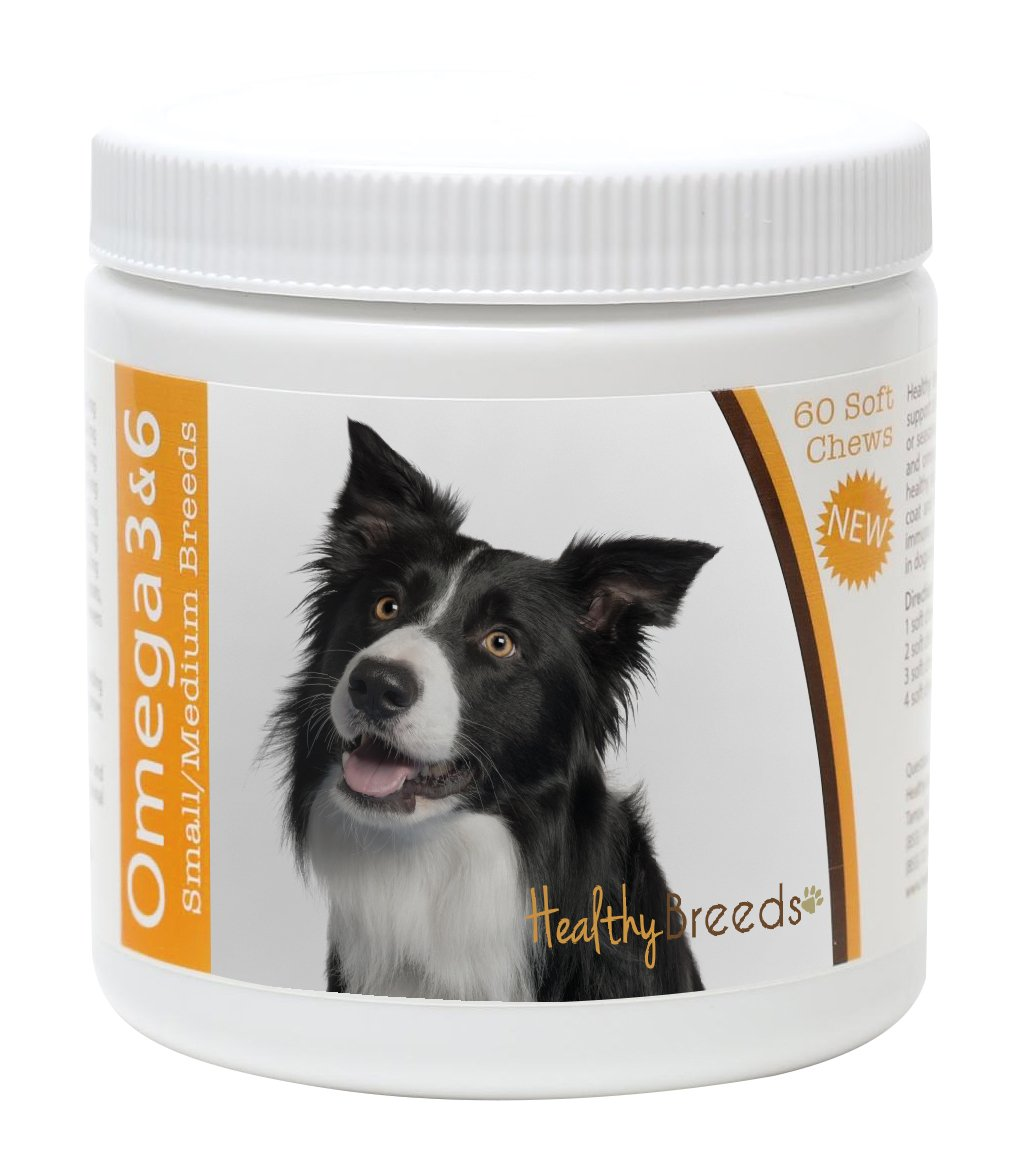 Healthy Breeds Dog Omega 3 & 6 Fish Oil Soft Chews for Border Collie - Small Dog Formula – Over 50 Breeds –Supplement with Anchovy, Krill Oil – 60 Count – HP Skin and Coat Support