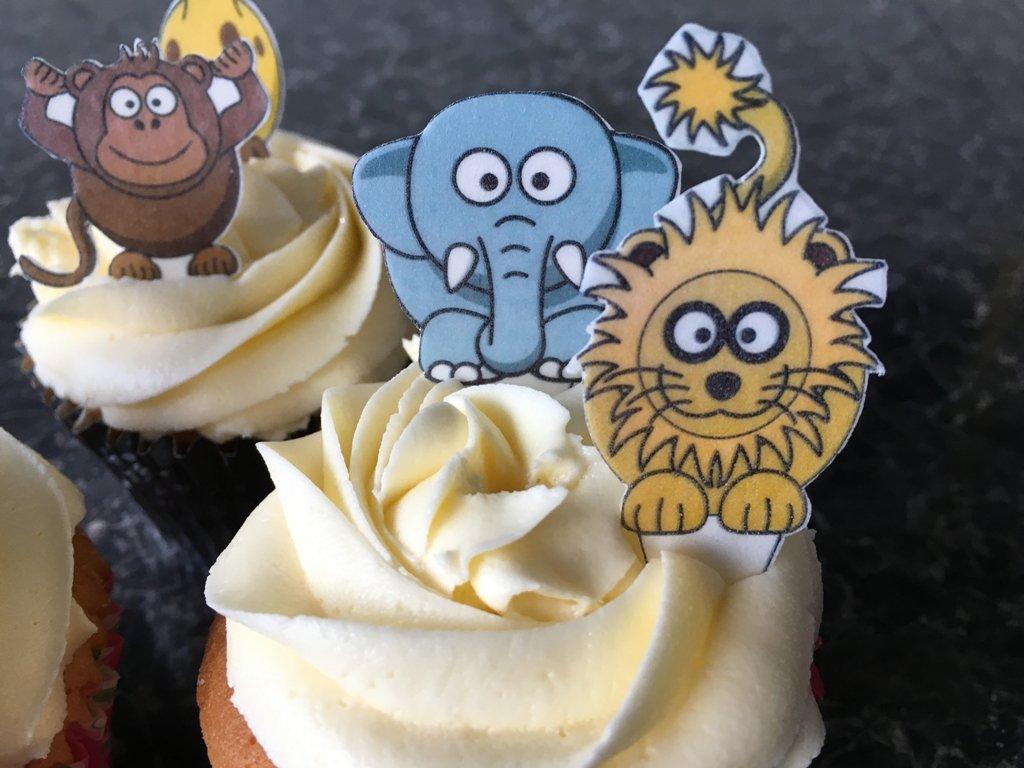 12/Pre Cut animales de la selva comestible para cupcakes//guirnalda de adornos para tartas * CUERPO COMPLETO *