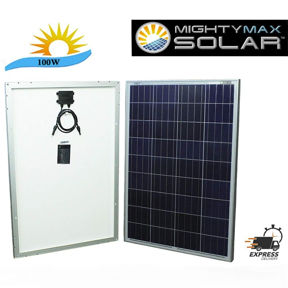 Mighty Max Battery 100 watt Off Grid Solar Power System – 100w 12v -18v high Efficiency polycrystalline Solar Panel Module Battery Charger for Marine and RV Solar Battery Brand Product