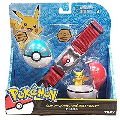 Pokémon Clip and Carry Poké Ball Adjustable Belt with 2 inch Pikachu Figure, Poké Ball, and Grass Type Nest Ball - Assorted colors: Toys & Games