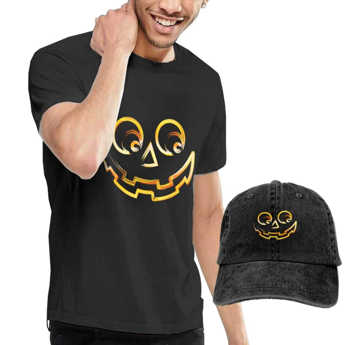 QQWBB Pumkin Smiley Face T Shirt Short Sleeve Denim Hat Men