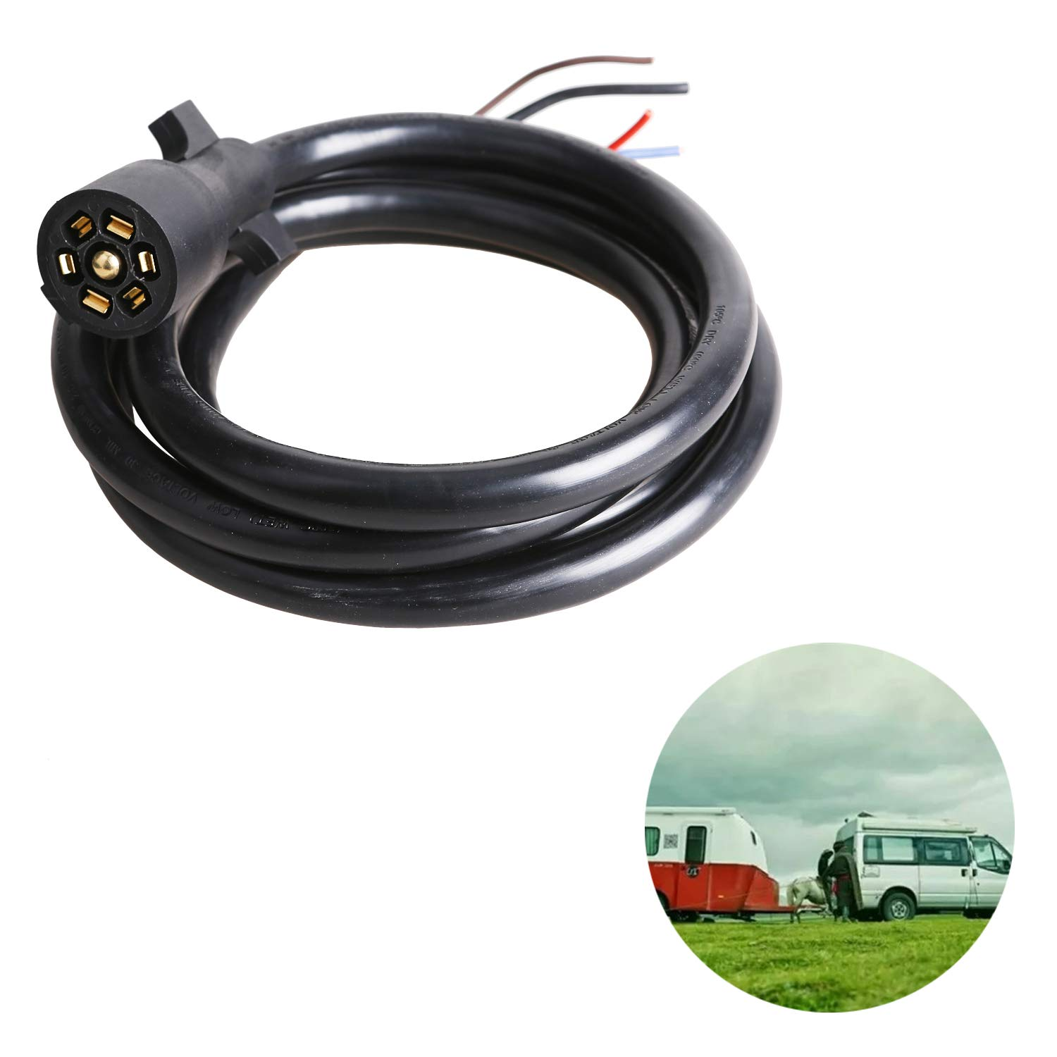 EPICORD Heavy Duty 7 Way Plug Inline Trailer Cord with Double Prongs Connector - 8 Feet, Weatherproof by EPICORD (Image #6)