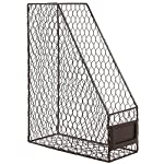 Brown Wire Metal Magazine Rack / Mail Holder / Document File Folder Storage Basket w/ Label Holder