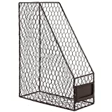 Rustic Chicken Wire Magazine, Office Document, File Holder Shelf Organizer Basket w/Chalkboard Label
