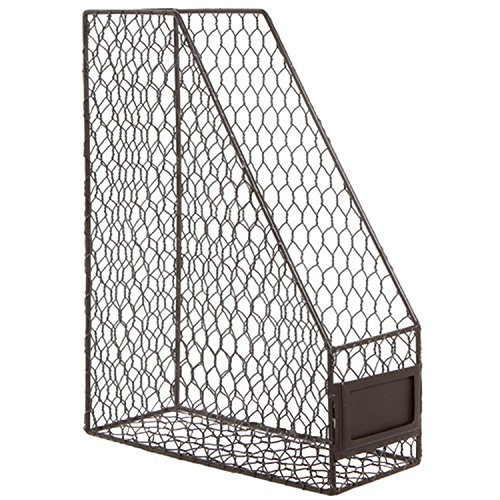 Rustic Chicken Wire Magazine, Office Document, File Holder Shelf Organizer Basket w/Chalkboard Label by MyGift