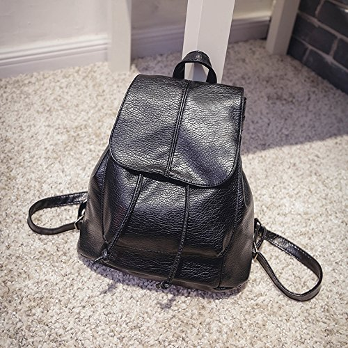 New Brand Fashion Women PU Leather Backpacks Waterproof Ladies Cute Small School Backpacks for Girls Kids Black Color